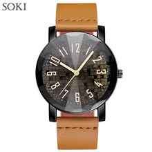New Personality Watches SOKI Luxury Brand Fashion Casual Wristwatches Men Women Gift Quartz Leather Watch Relogio Masculino