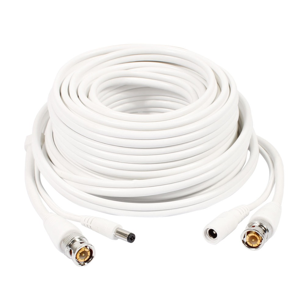10m/20/30m BNC+DC Video and Power Cable Wire for CCTV Security HD Camera White
