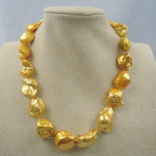 100%  FRESH-WATER Baroque PEARL NECKLACE-good quanlity-925 SILIVER HOOK with 18K gold plating