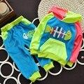 Горячие Новые 2016 летние девушки парни крем 1-3 Год дети комплект одежды детская одежда Полный рукав Футболки толстовки брюки детского спорта костюм