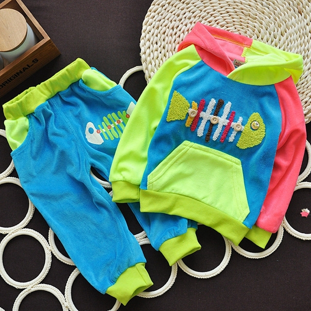 Hot New 2016 summer girls boys cream 1-3 Year children clothing set baby clothes Full-sleeve T-shirt hoodies pant kid sport suit