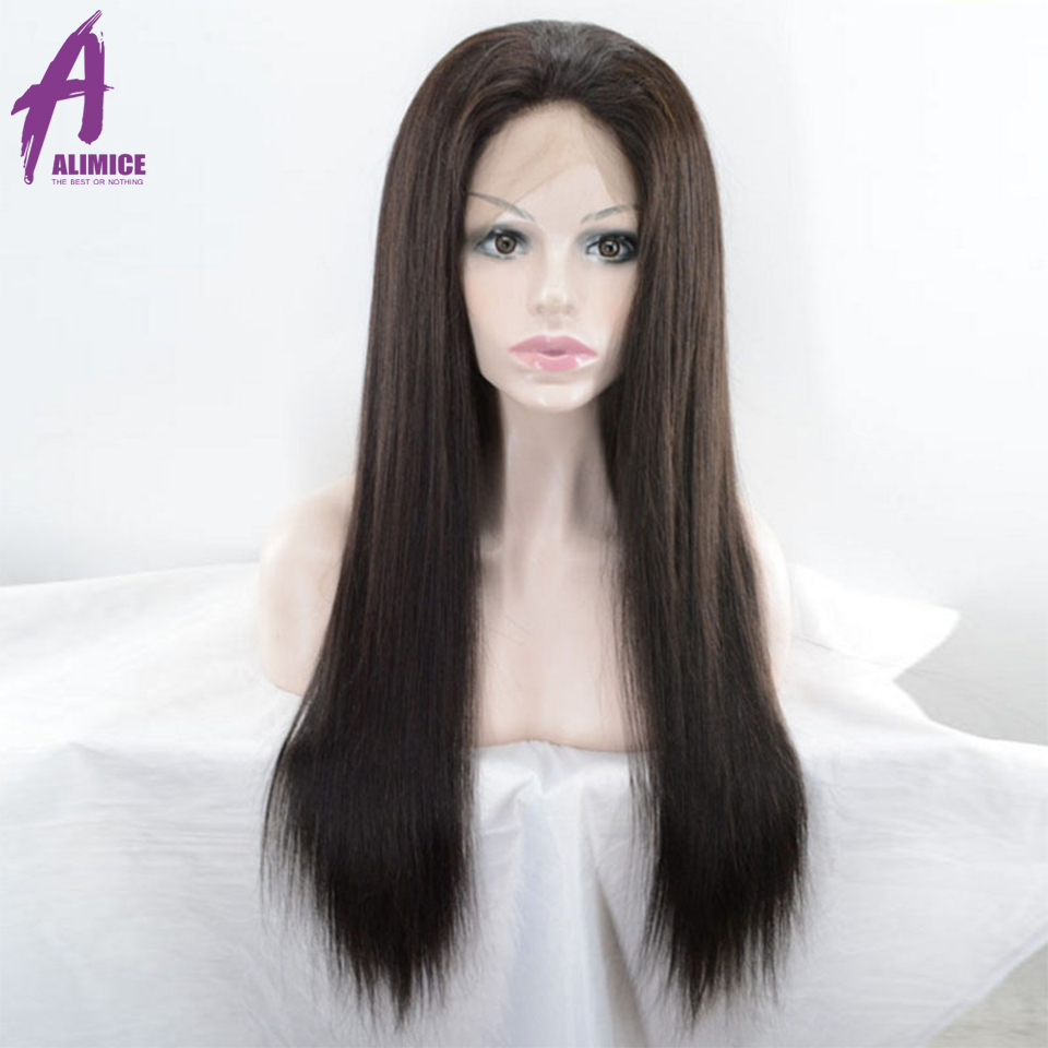 Alimice Straight 360 Lace Frontal Wig Pre Plucked With Baby Hair Lace Front Human Hair Wigs