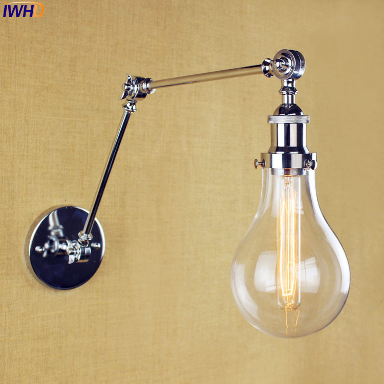 Фотография IWHD Silver Antique Wall Light Fixtures Bedroom Glass Lampshade Long Arm Vintage Industrial Wall Lamp Edison Lampe Murale