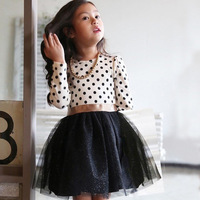 2016 Cotton Long Sleeve Casual Spring And Autumn Party Dress For Girls Polka Dots Children Kids