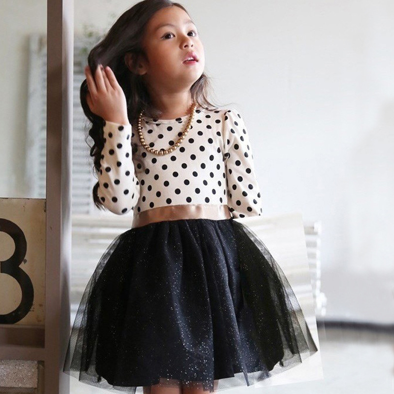 Nacolle Cotton Long Sleeve Casual Spring and Autumn Party Dress For Girls Polka Dots Children Kids Clothes Toddler Girl Clothing spring autumn cute baby kids girls party dress kids clothes cotton toddler girl clothing long sleeve baby girl princess dress
