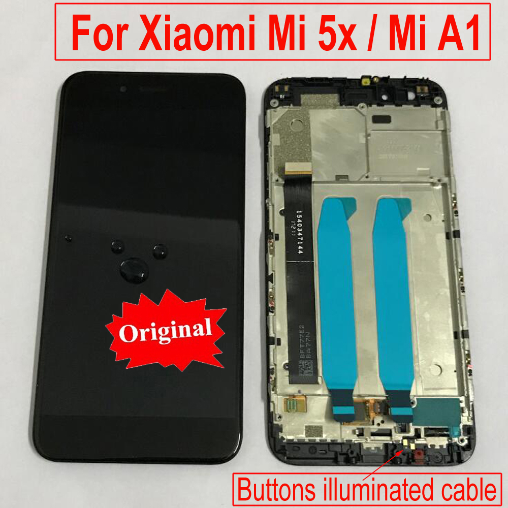 LTPro Original For MiA1 A1 Glass Panel LCD Display Touch Screen Digitizer Assembly With Frame For Xiaomi Mi 5X Mi5X Phone Sensor