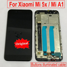 100% Original MiA1 A1 Glass Pantalla LCD Display Touch Screen Digitizer Assembly with Frame For Xiaomi Mi 5X Mi5X Phone Sensor