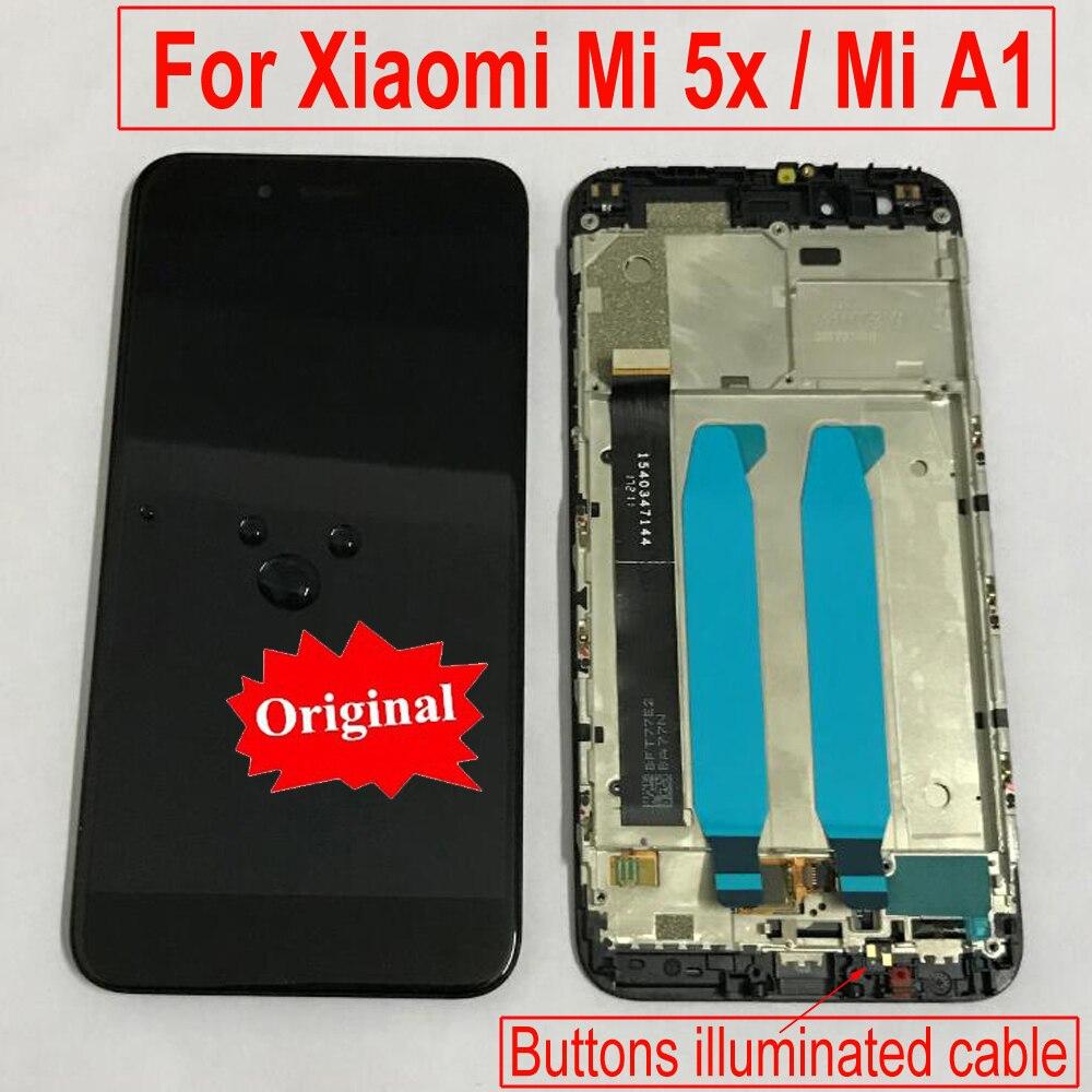 Meilleur Origine Pour mi A1 A1 Verre Panneau LCD Affichage à L'écran Tactile Digitizer Assemblée avec Cadre Pour Xiao mi mi 5X mi 5X Téléphone Capteur