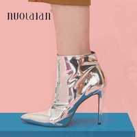 2019 autumn winte women boots silver gold metallic leather ankle boots for women pointed toe high heels boots sexy ladies shoes