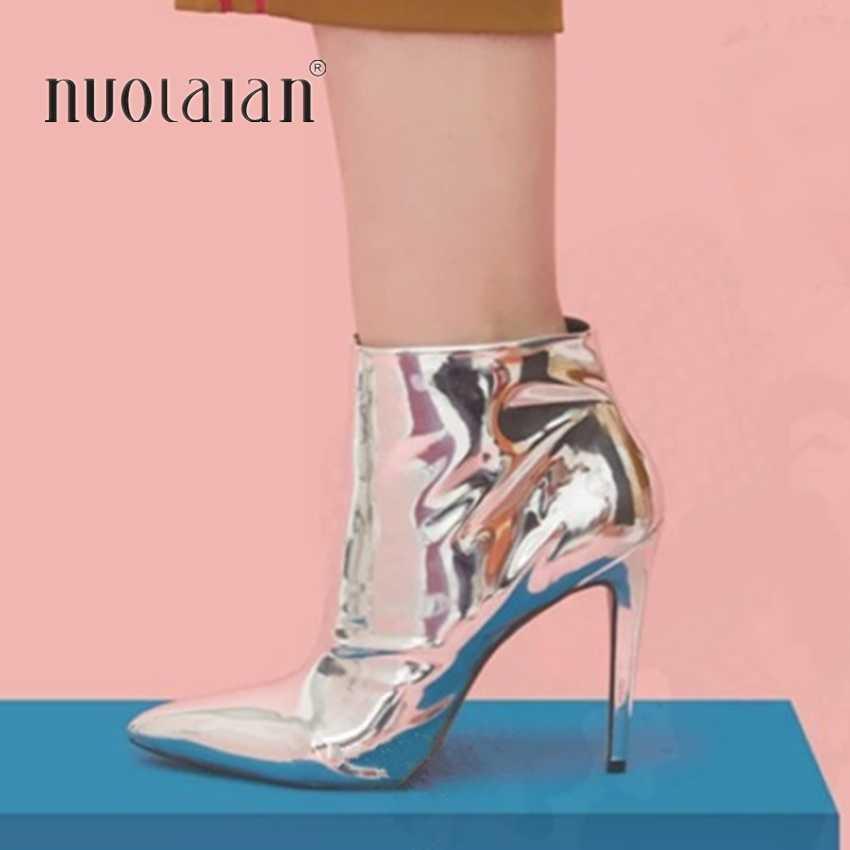Botas de otoño 2019 para mujer, botas de tobillo de cuero metálico de oro plateado para mujer, botas de tacones altos de punta estrecha para mujer zapatos