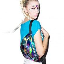 Для женщин лазерной кошелек прозрачный Светоотражающие груди мешок панк Фанни дизайнер поясная сумка(China)