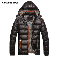 NaranjaSabor 2017 Winter Parkas Warm Thick Male Hooded Padded Casual Jackets Men Overcoats Men's Coats Mens Brand Clothing 4XL