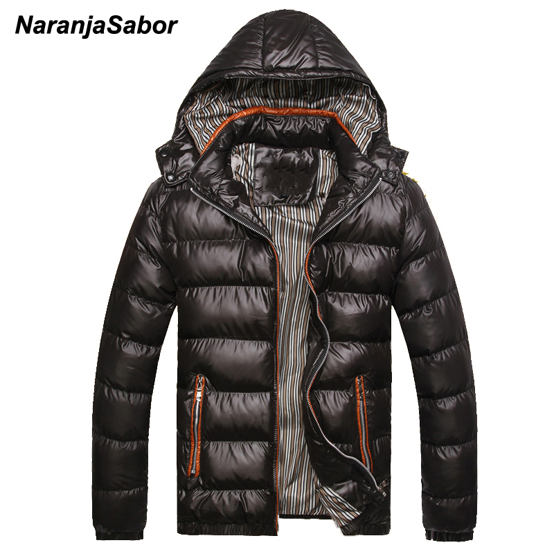 NaranjaSabor 2019 Winter Men's Coats Warm Thick Male Jackets Padded Casual Hooded Parkas Men Overcoats Mens Brand Clothing 5XL