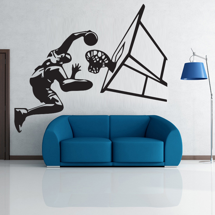 Basketball sports star Basketball celebrity Art poster Wall Stickers Boy  bedroom background decor art wall stickers wallpaper. Basketball Bedroom Furniture Promotion Shop for Promotional