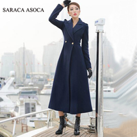 New Style Fashion Long Winter Coat Women's Turn down Collar Slim Double Breasted black Jackets Ladies