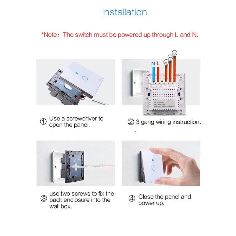 Sonoff T1 Eu /Uk Wifi Rf / App / Touch Control Wall Light Switch 1 ...