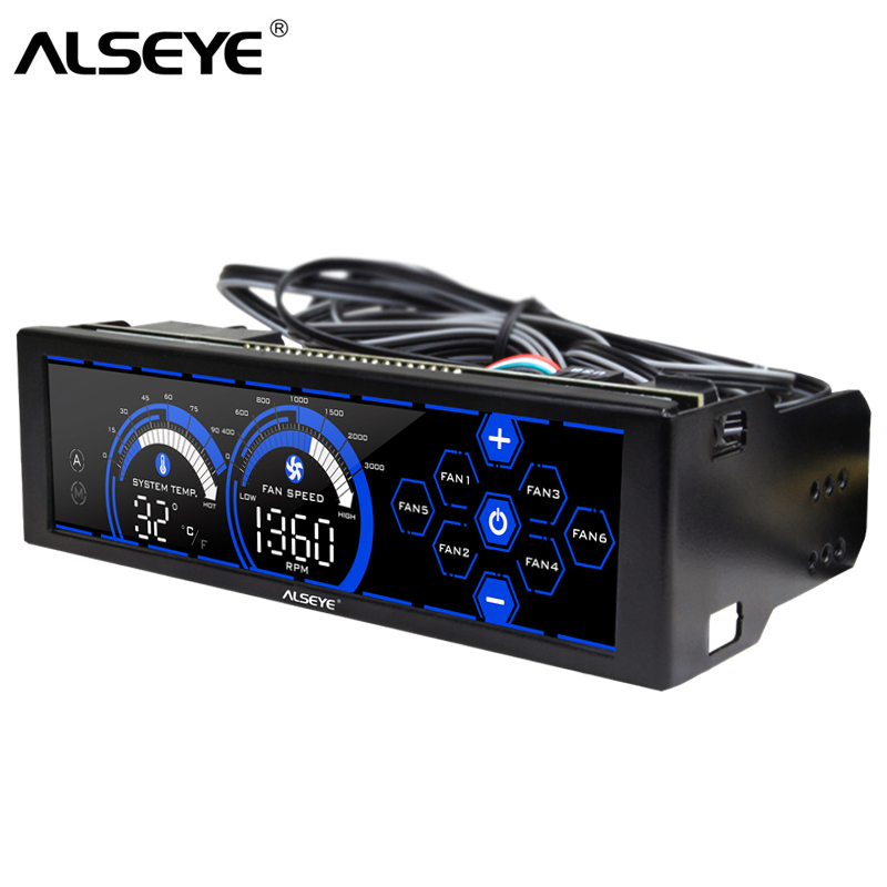 ALSEYE A-100L(B) PC Fan Controller For Cooling Fans Touch Screen 6 Channels Fan Speed Controller For 3pin 4pin Fan