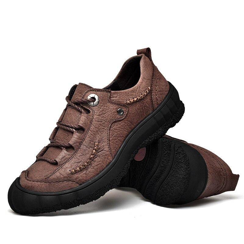 Dropshipping Zapatos Confortável De Nova Couro up Livre Respirável marrom Sapatos Genuínos Preto Homens Ar Hombre Flats Ao Lace Casuais adq6AqwI
