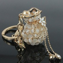 Free Shipping! New 2013 Luxurious Clear Opal Money Purse Metal Keychain Bag Key Ring Valentines Gifts Wholesale Promotion