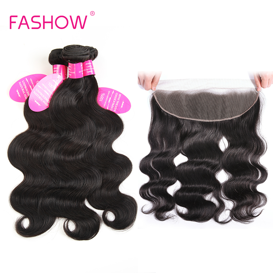 Mèches malaisiennes Non Remy-Fashow, cheveux naturels, Body Wave, avec Lace Frontal Closure, doreille à oreille, en lot de 3