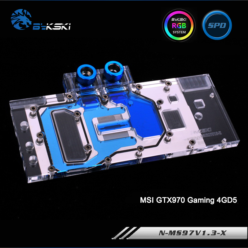 Bykski N-MS97V1.3-X/N-MS97V1.1-X Full Cover Graphics Card Water Cooling Block RGB/RBW/ARUA for MSI GTX970 Gaming 4GD5 v1.3/v1.1 for maxsun ms gt630 graphics card cooling fan diameter 55mm 2wire 2pin pitch 34 31 13mm