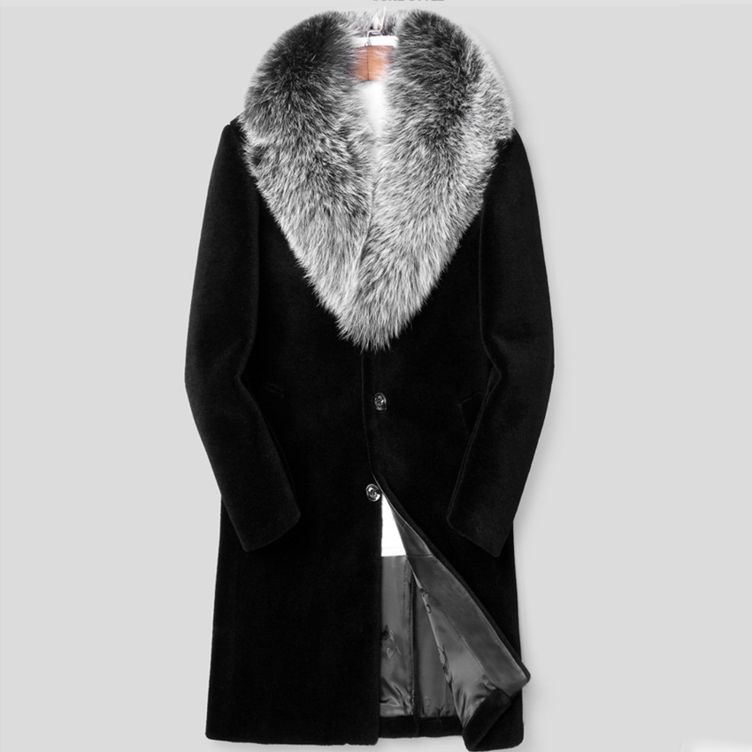 Long Section Male Long Section Thick Fake Mink Fur Jackets S/6XL Warm Man-Made Fur Overcoats Large Size Faux Fur Coat D384