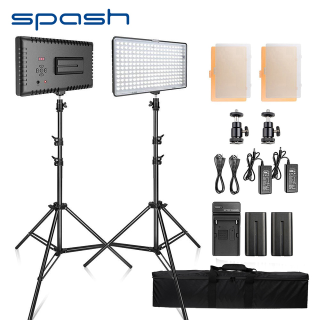 spash TL-240S LED Video Light 2 in 1 Kit Photography Lighting led Panel with Tripod CRI 93 3200K/5600K Camera Photo Studio Lamp