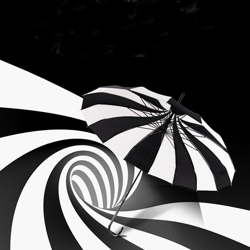10 pcs Creative Design Black And White Striped Golf Umbrella Long-handled Straight Pagoda Umbrella Free Shipping ZA1172