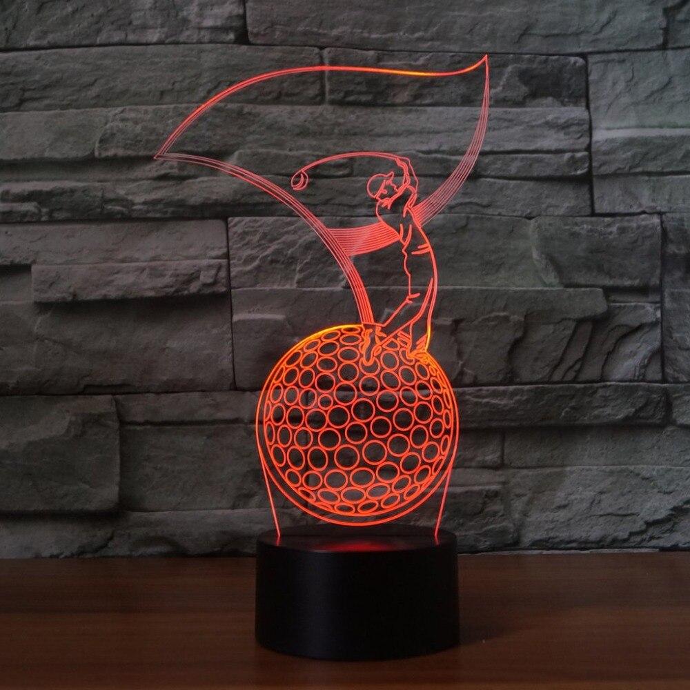 Bedroom 7 Color Changing 3D Golfer Modelling Led Baby Sleep Lighting Desk Lamp Led Vision Night Lights Usb Golf Enthusiast Gifts