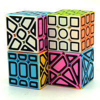 Lefun Magic Cube Gift Pack(4pcs/set,5.7cm 3*3*3 Cube,Windmil,Fisher,Axis Cube Candy Body With Hollow Black Carbon Fibre Sticker,