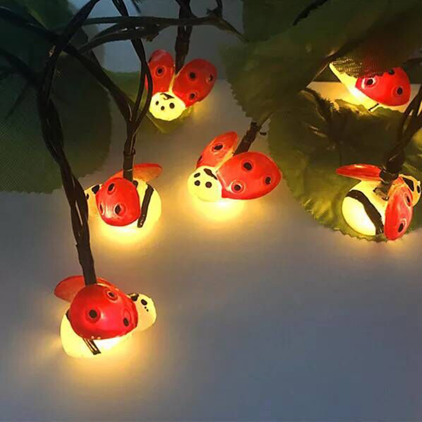 1.5m 10leds 2m 20eds Battery Operated Ladybug LED String Lights Outdoor Waterproof Garden Fence Patio Christmas Festival Light