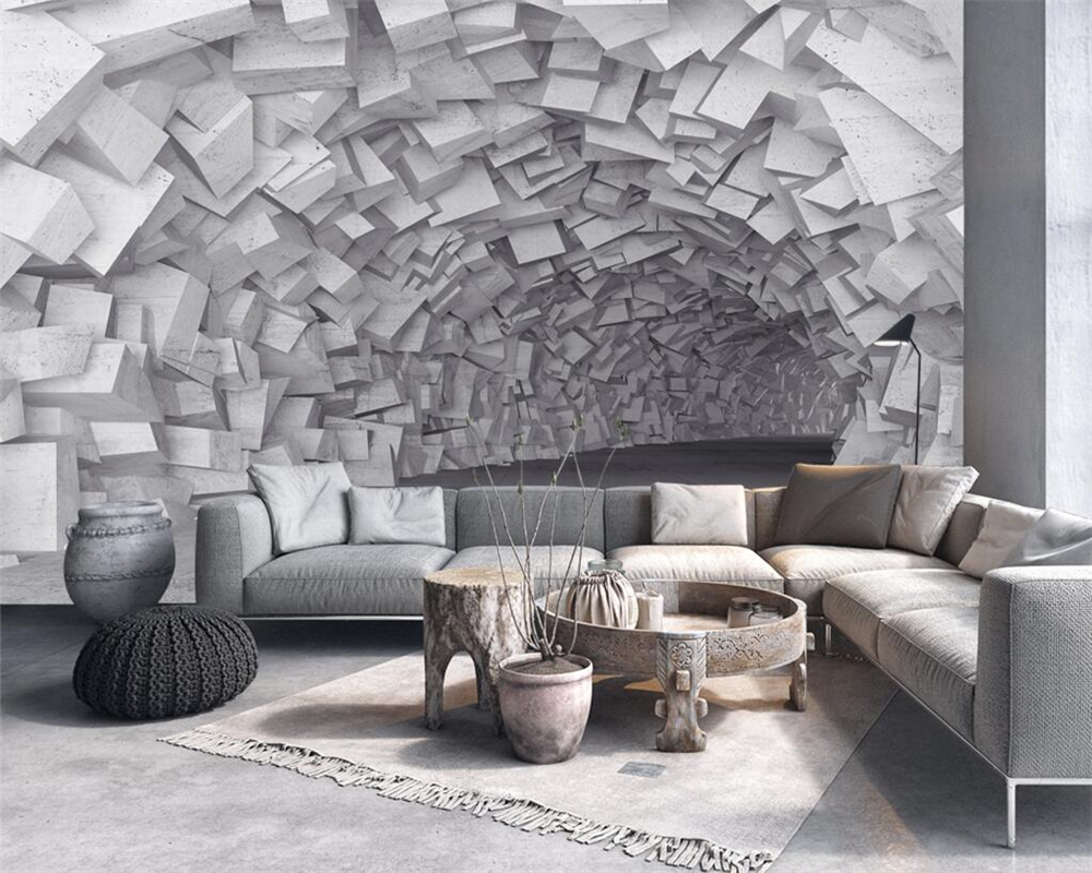 Beibehang Custom wallpaper 3D European retro extension space tunnel industrial wind TV sofa background wall murals 3d wallpaper in Wallpapers from Home Improvement