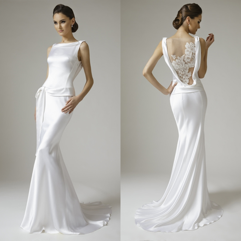 Mermaid bateau ruches appliques white satin lace wedding for Satin and lace wedding dresses