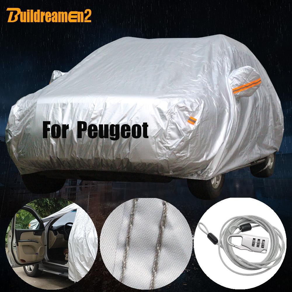 Buildreamen2 Waterdichte Auto Cover Outdoor Zon Sneeuw Regen Bescherming Cover Voor Peugeot 1007 206 207 208 307 308 405 406 407 408