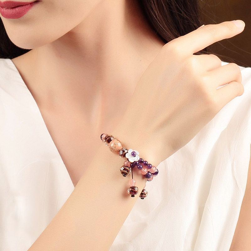 Vintage Bracelets Grape colour Bracelets & Bangles Ceramic Friendship Fresh Sweet Bracelet For Women Jewelry Adjustable Gift