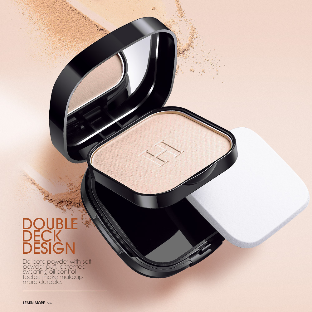 HENLICS Super Waterproof Pressed Powder Face Contour Makeup Mineral Powder Foundation with Oil-control Functions
