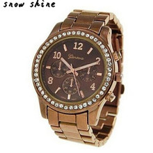 snowshine 10xin Faux Chronograph Quartz Classic Round Ladies Women Crystals Watch free shipping