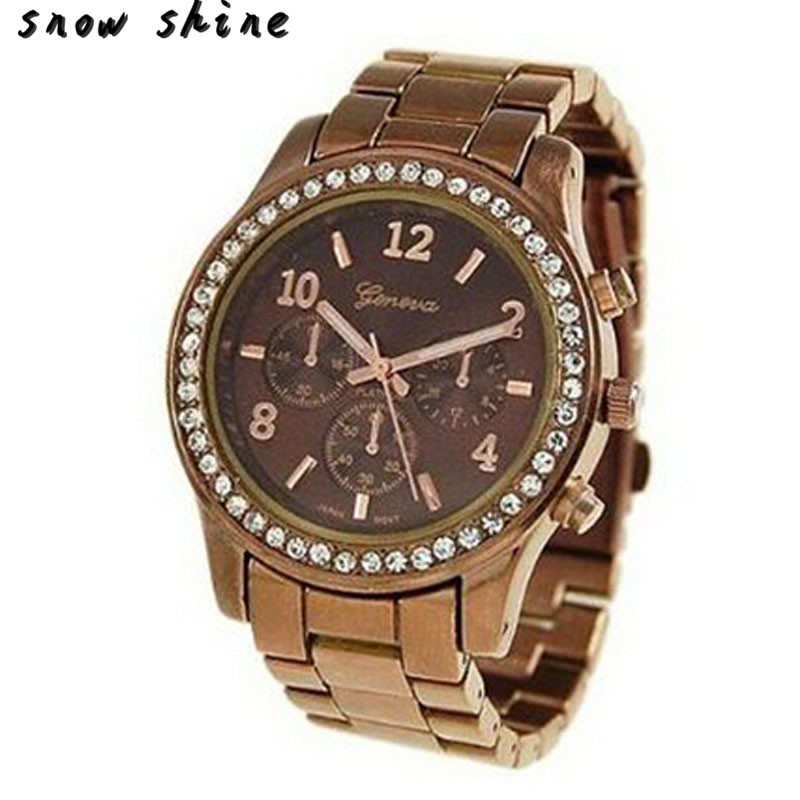 snowshine 10xin Faux Chronograph Quartz Classic Round Ladies Women Crystals font b Watch b font free