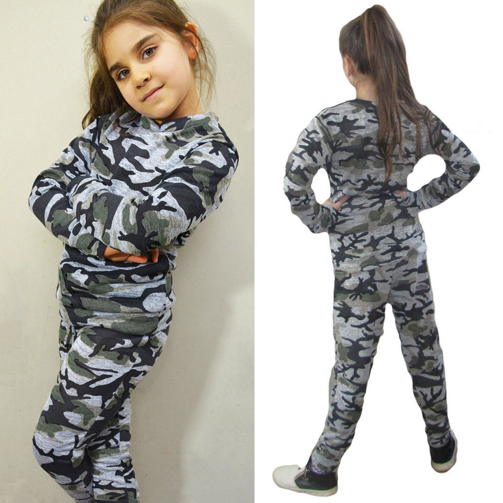 38b945402 Kids Boy Girl Tracksuit Tops + Trousers/pants Outfits Set,Girls Boys  Camouflage Autumn Outfits Clothes Sportswear Clothing