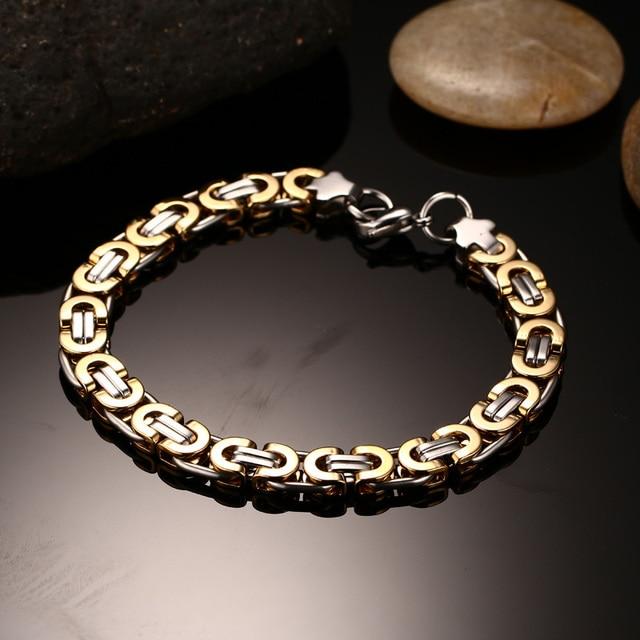 "9mm Mens שטוח הביזנטי Chian צמיד ב נירוסטה שני טון זהב כסף יד Braslet Bileklik Armband זכר תכשיטים 9"""