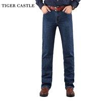 TIGER CASTLE Baggy Men Black Jeans Stretch Classic Cotton Trousers Men Casual Black Denim Loose Lightweight
