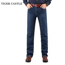 TIGER CASTLE Baggy Men Black Jeans Stretch Classic Cotton Trousers Men Casual Black Denim Loose Spring Autumn Pants Size 40 42