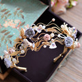 Gold Vintage Baroque Headbands Butterfly Tiara Pearl Headpieces Flower Bridal Headwear Wedding Hair Accessories Jewelry T778