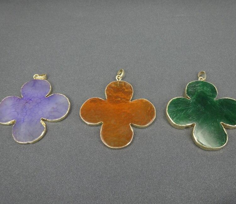 Кварц цветок Форма из бисера позолоченный край кулон камень Бусины для ювелирных изделий DIY браслет Цепочки и ожерелья