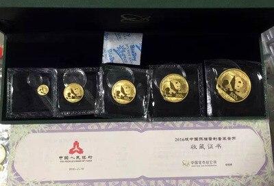 5 pièces 2016 chinois nouvel an lunaire panda plaque or costume 5 or Panda pièce avec boîte et certificat cadeau collection