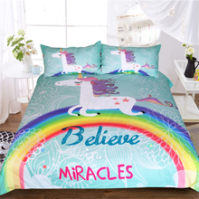 Unicorn Bedding Set Believe Miracles Single Bed Duvet Cover or Kids Girls 3pcs Rainbow Bedspreads