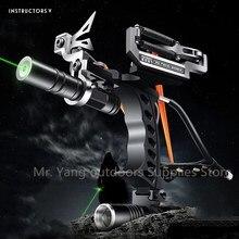 цена на Laser Slingshot Elastic Hunting Fishing Slingshot Shooting Catapult Bow Arrow Rest Bow Sling Shot Crossbow Bolt