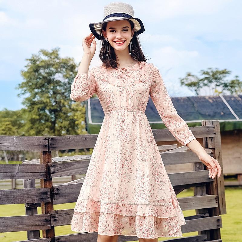 En Soie Robes Rose De Mode Femmes Robe Impression Élégante Mousseline 2018 Printemps Fleur Automne Nouveau Mignon TxpOvp