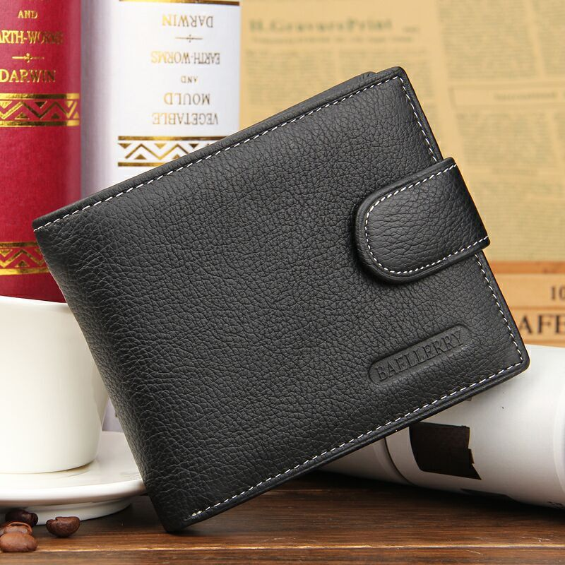 Hot Sale Fashion Black Brown Men's Wallets Real Leather Short Hasp Zipper Button Credit Card Holder Coin Pocket Purse Wallet wholesale price fashion new bright pattern women wallets long zipper pocket hasp quality credit card holder wallet free shipping