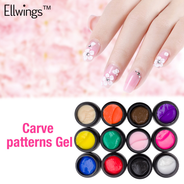 US $1 59 16% OFF Ellwings 12 Colors Carved Glue Draw Glitter DIY Painted  Nail Glue Nail Art Paint Professional Nail Gel Polish-in Nail Gel from  Beauty